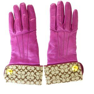 Coach Gloves Purple Leather,Canvas